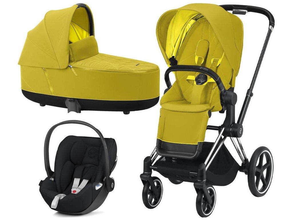 Kočárek CYBEX Set Priam Chrome Black Seat Pack 2021 včetně Cloud Z i-Size - Mustard Yellow