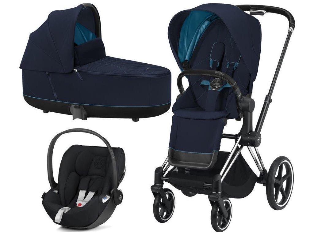 Kočárek CYBEX Set Priam Chrome Black Seat Pack 2021 včetně Cloud Z i-Size - Nautical Blue