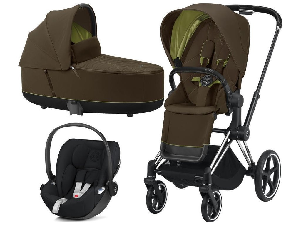 Kočárek CYBEX Set Priam Chrome Black Seat Pack 2021 včetně Cloud Z i-Size - Khaki Green