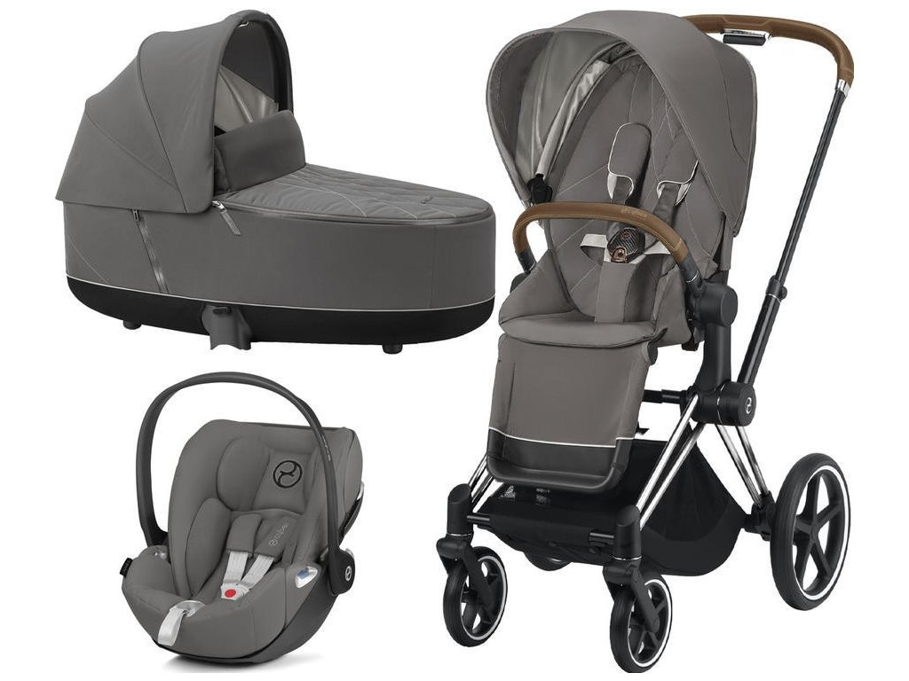 Kočárek CYBEX Set Priam Chrome Brown Seat Pack 2021 včetně Cloud Z i-Size - Soho Grey