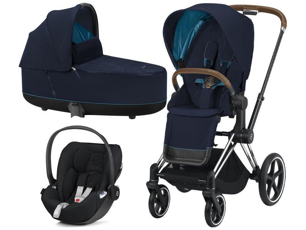 Kočárek CYBEX Set Priam Chrome Brown Seat Pack 2021 včetně Cloud Z i-Size - Nautical Blue