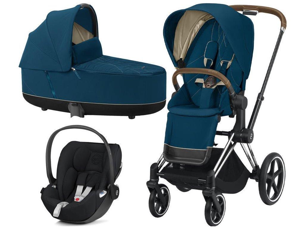 Kočárek CYBEX Set Priam Chrome Brown Seat Pack 2021 včetně Cloud Z i-Size - Mountain Blue