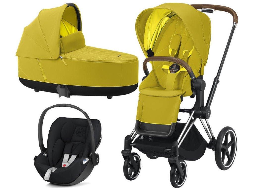 Kočárek CYBEX Set Priam Chrome Brown Seat Pack 2021 včetně Cloud Z i-Size - Mustard Yellow