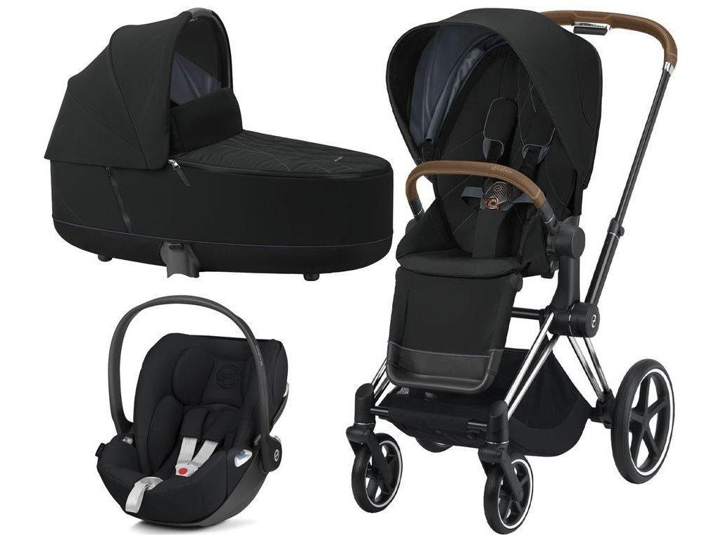 Kočárek CYBEX Set Priam Chrome Brown Seat Pack 2021 včetně Cloud Z i-Size - Deep Black