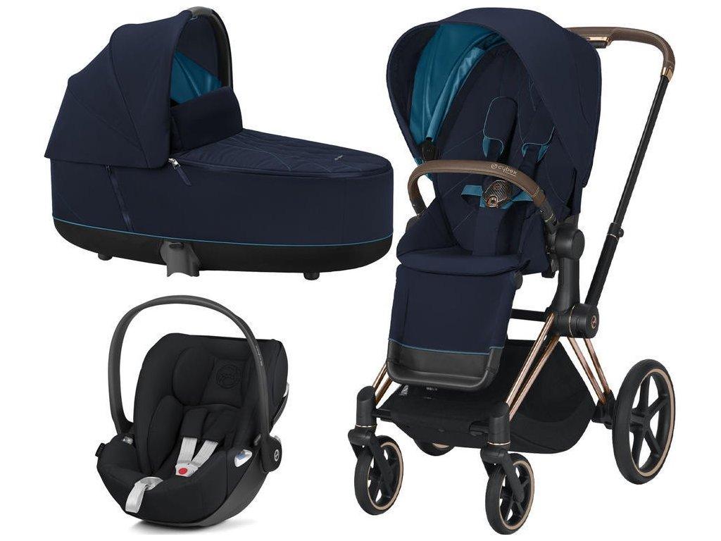 Kočárek CYBEX Set Priam Rosegold Seat Pack 2021 včetně Cloud Z i-Size - Nautical Blue