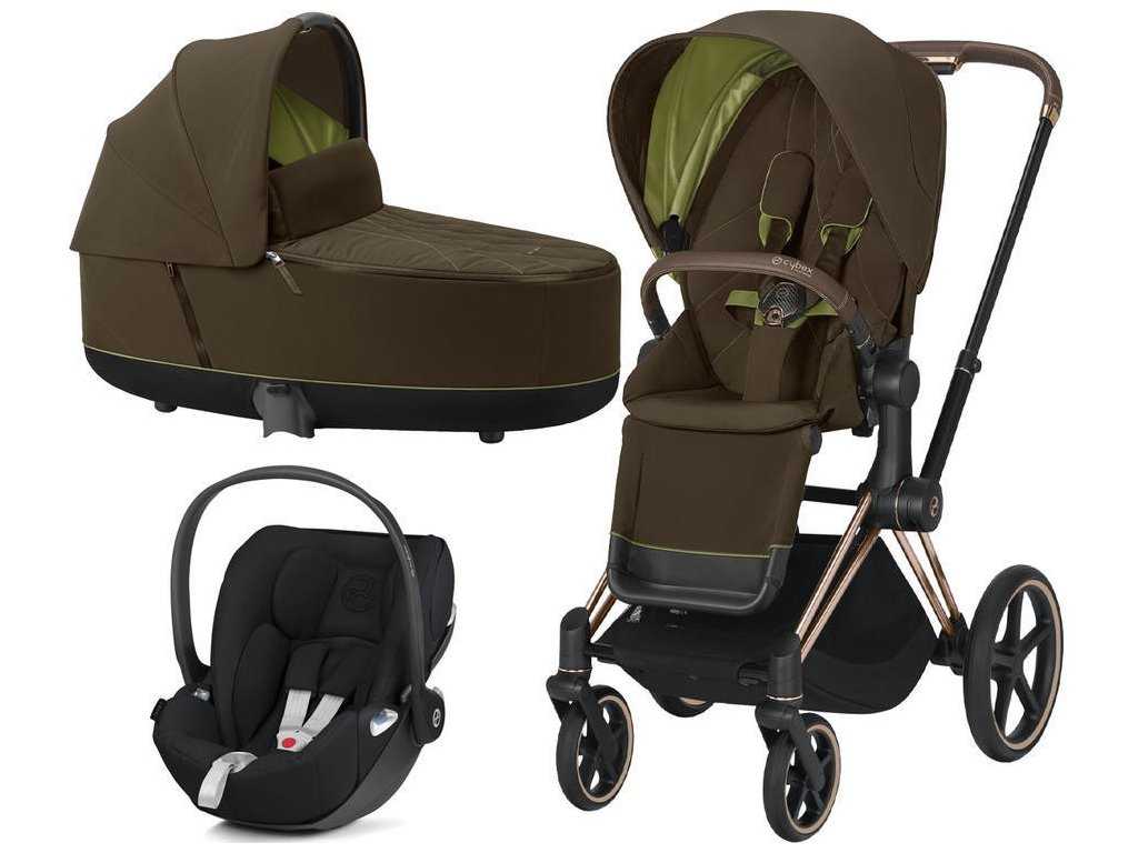 Kočárek CYBEX Set Priam Rosegold Seat Pack 2021 včetně Cloud Z i-Size - Khaki Green