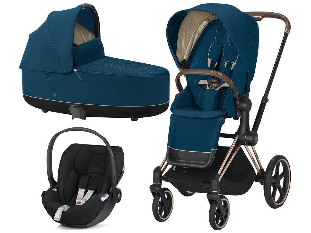 Kočárek CYBEX Set Priam Rosegold Seat Pack 2021 včetně Cloud Z i-Size - Mountain Blue
