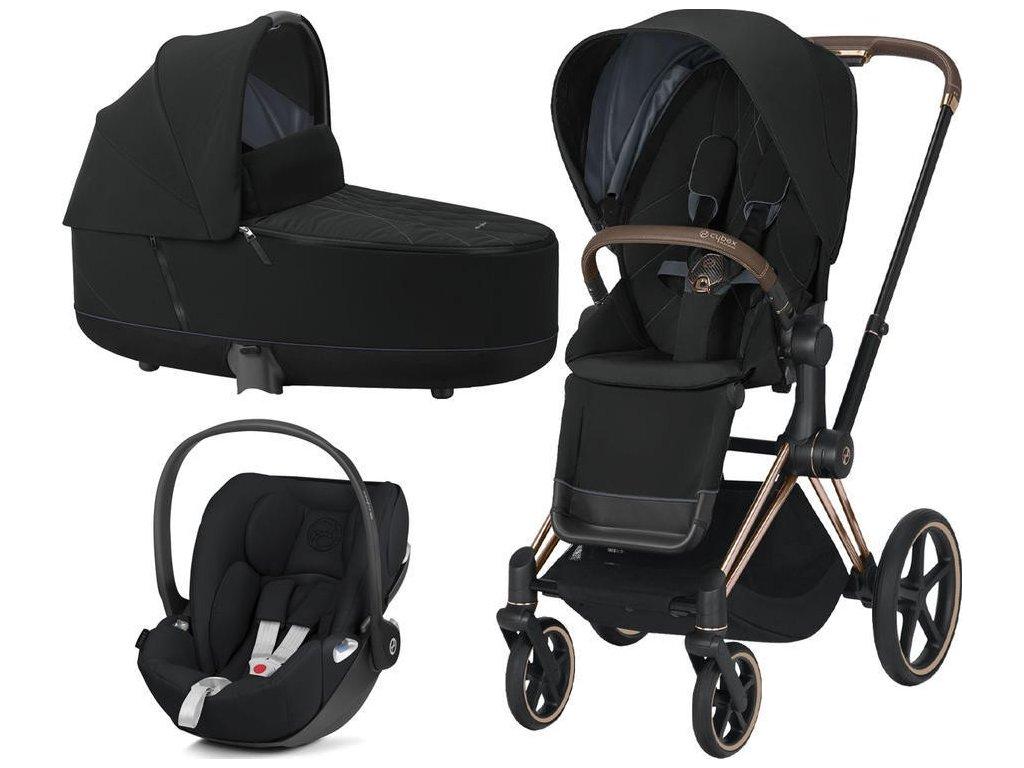 Kočárek CYBEX Set Priam Rosegold Seat Pack 2021 včetně Cloud Z i-Size - Deep Black