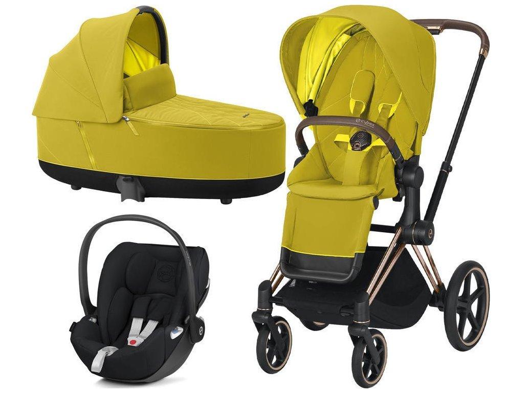 Kočárek CYBEX Set Priam Rosegold Seat Pack 2021 včetně Cloud Z i-Size - Mustard Yellow