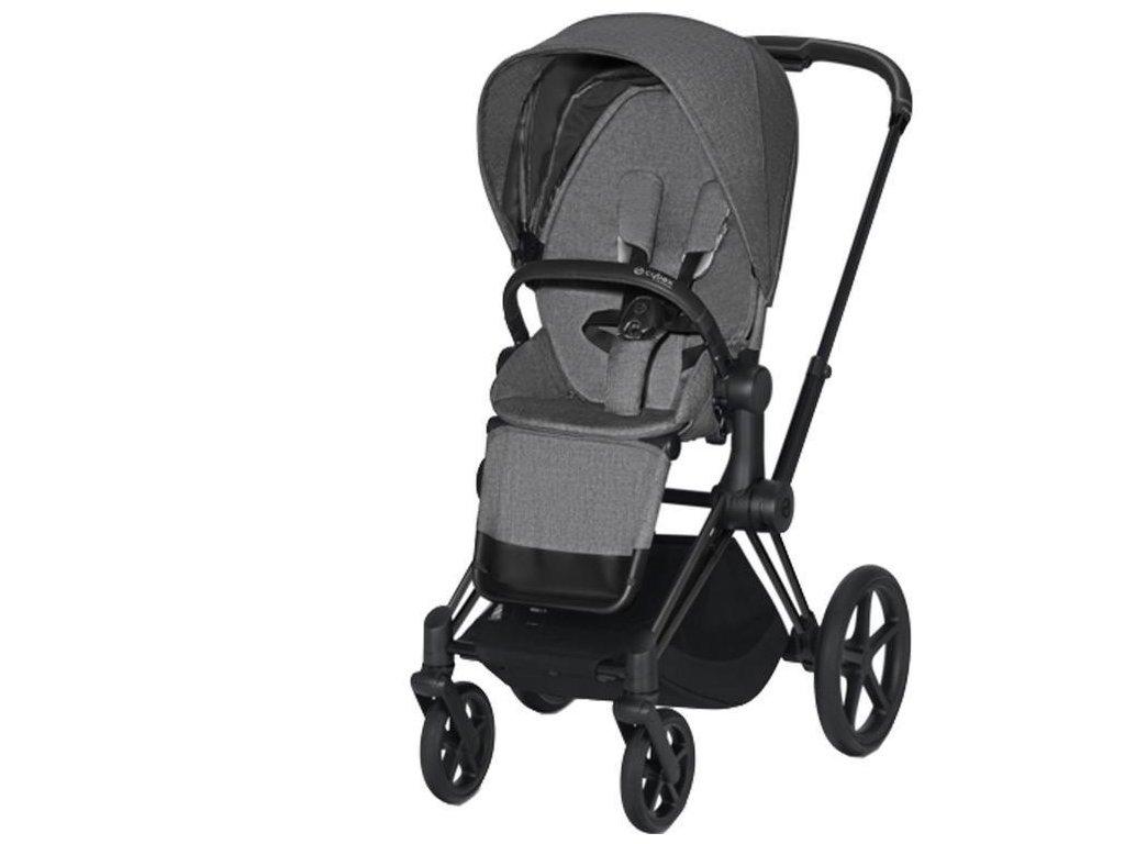 Kočárek CYBEX Priam Matt Black Seat Pack PLUS 2021 - Manhattan Grey