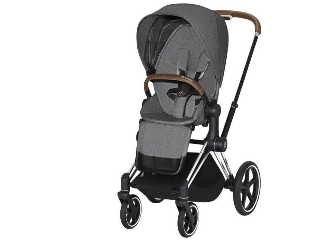 Kočárek CYBEX Priam Chrome Brown Seat Pack PLUS 2021 - Manhattan Grey
