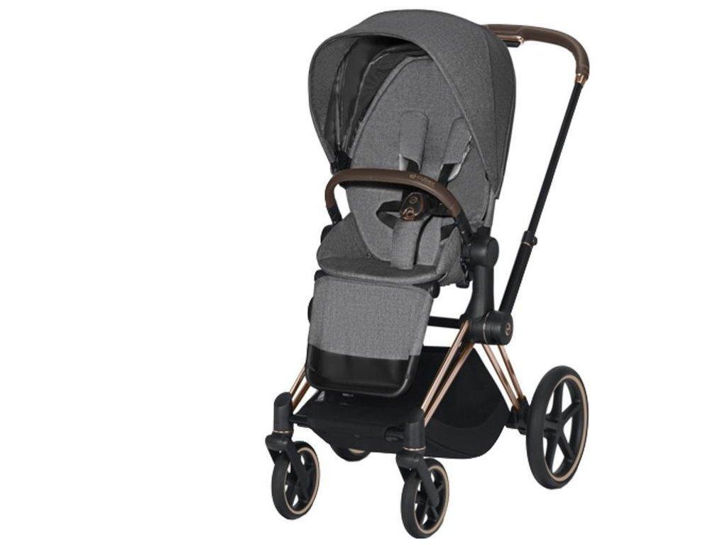 Kočárek CYBEX Priam Rosegold Seat Pack PLUS 2021 - Manhattan Grey