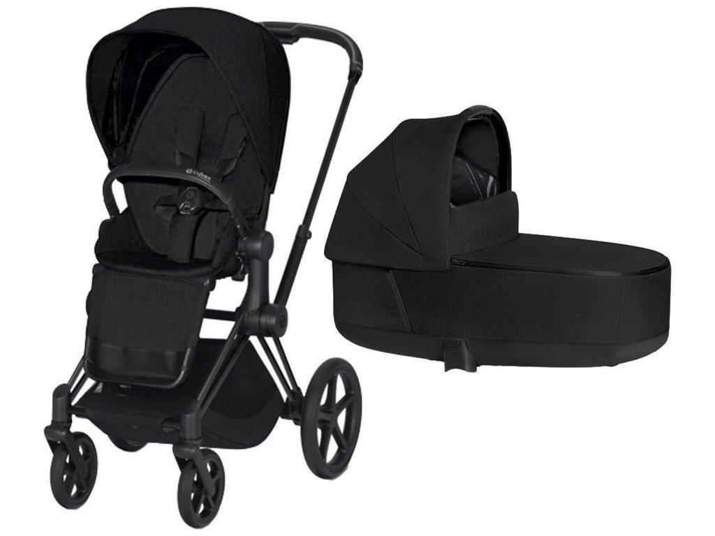 Kočárek CYBEX Priam Matt Black Seat Pack PLUS 2021 včetně korby - Stardust Black