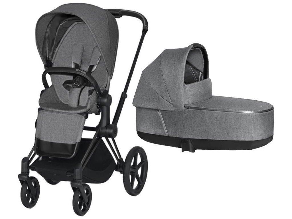 Kočárek CYBEX Priam Matt Black Seat Pack PLUS 2021 včetně korby - Manhattan Grey