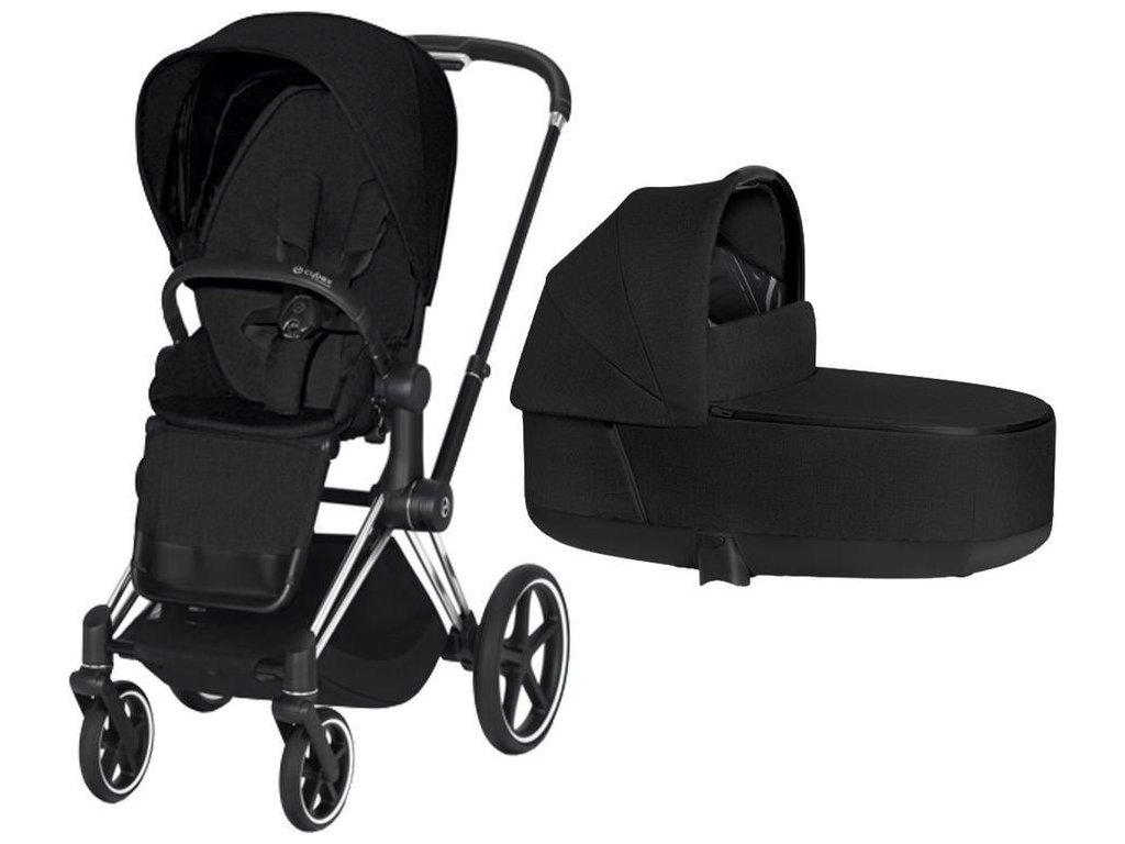 Kočárek CYBEX Priam Chrome Black Seat Pack PLUS 2021 včetně korby - Stardust Black