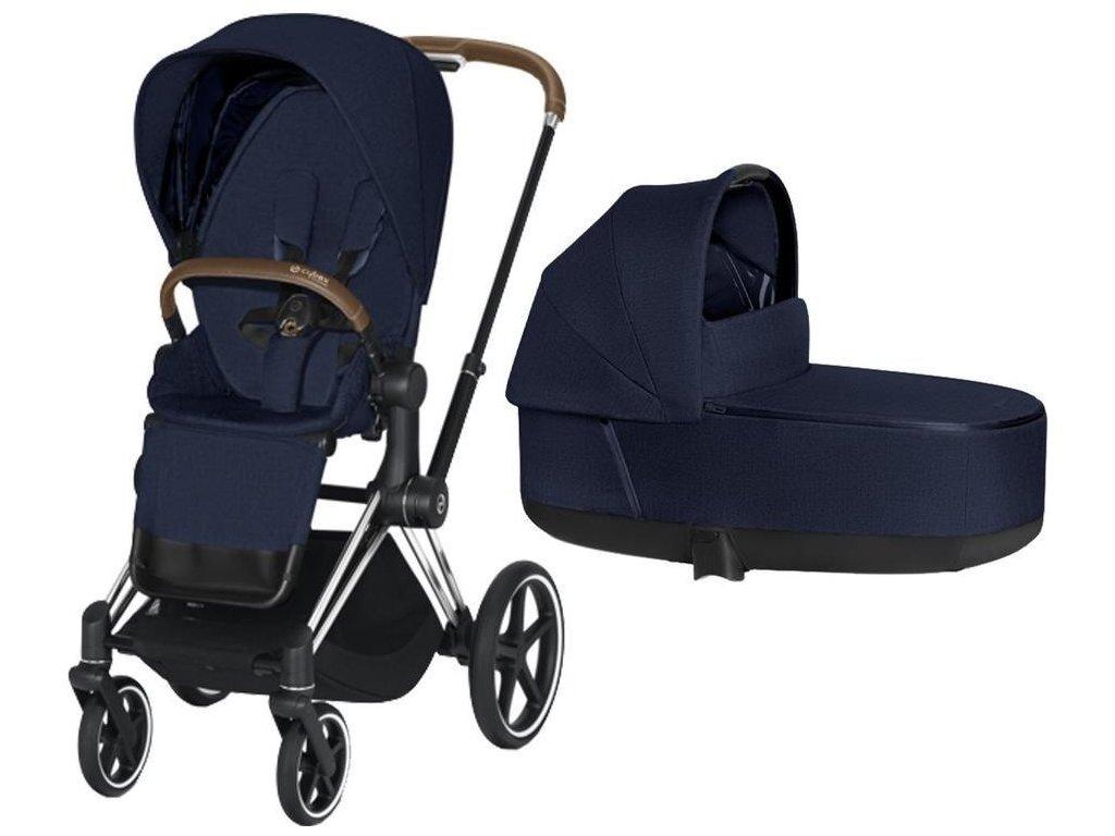 Kočárek CYBEX Priam Chrome Brown Seat Pack PLUS 2021 včetně korby - Midnight Blue