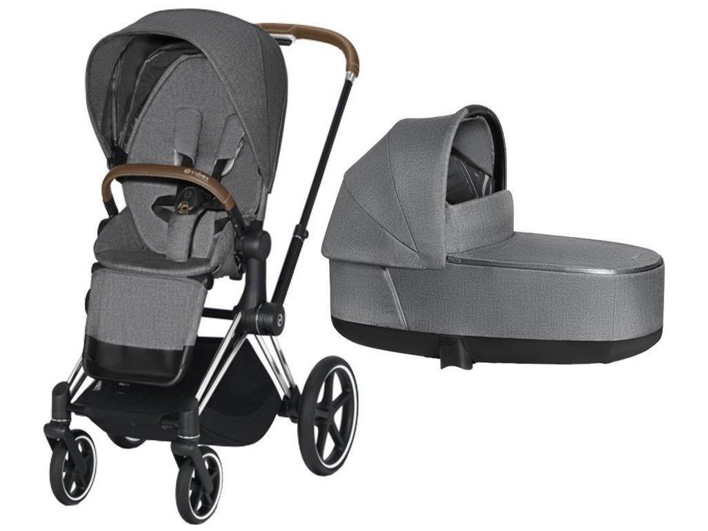Kočárek CYBEX Priam Chrome Brown Seat Pack PLUS 2021 včetně korby - Manhattan Grey