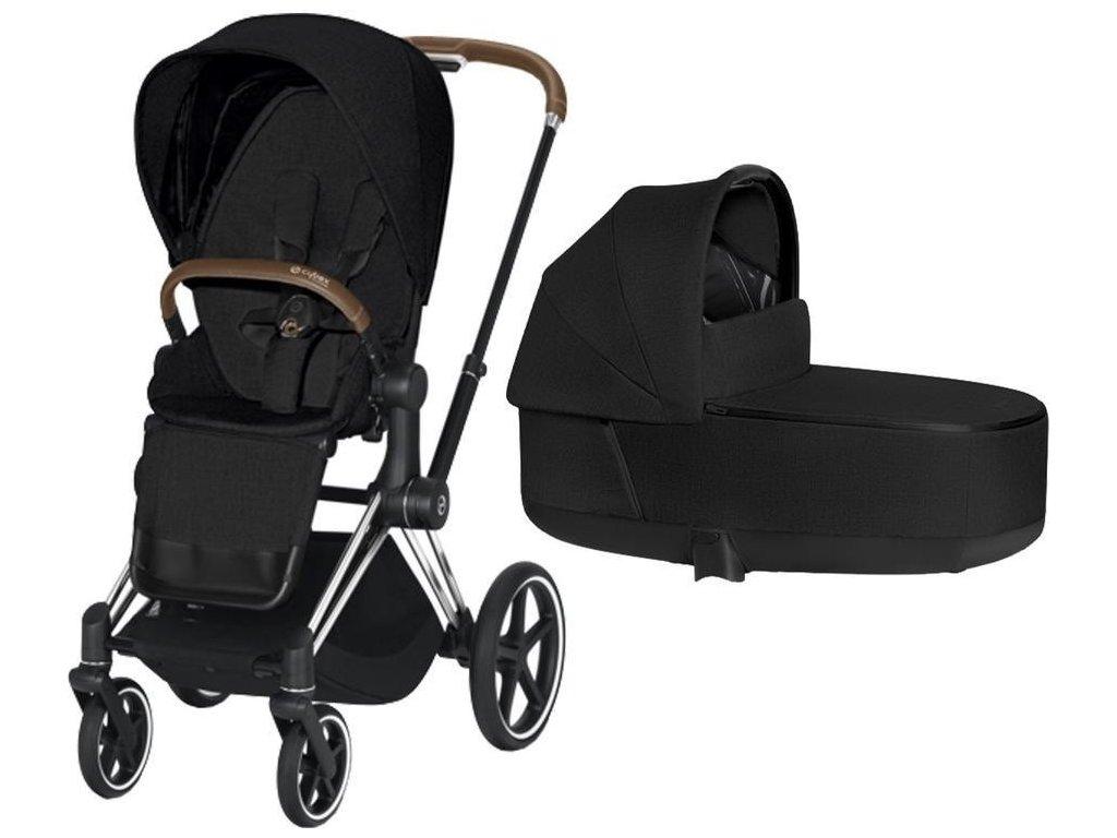 Kočárek CYBEX Priam Chrome Brown Seat Pack PLUS 2021 včetně korby - Stardust Black