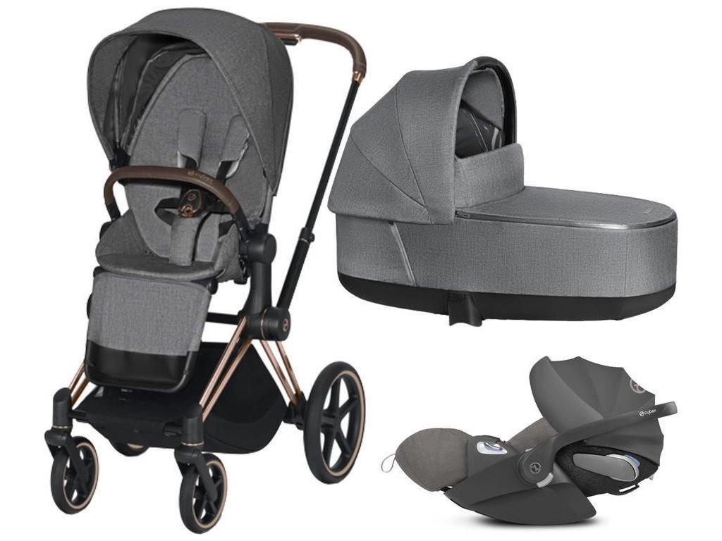 Kočárek CYBEX Set Priam Rosegold Seat Pack PLUS 2021 včetně Cloud Z i-Size PLUS - Manhattan Grey