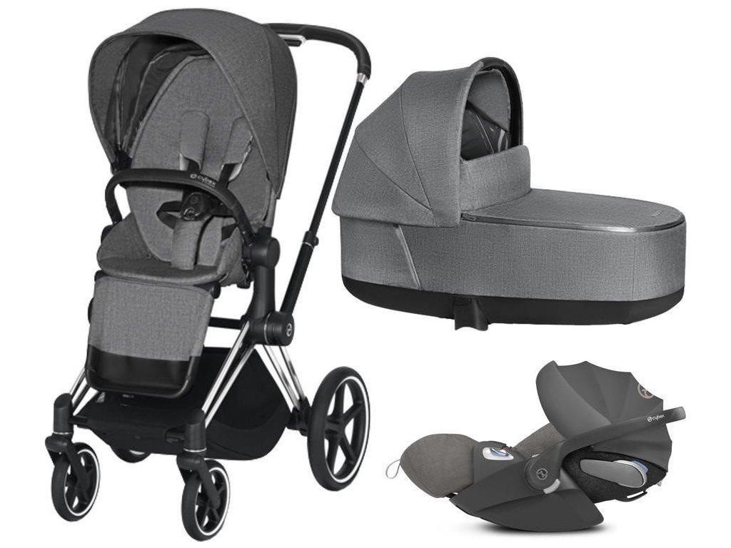 Kočárek CYBEX Set Priam Chrome Black Seat Pack PLUS 2021 včetně Cloud Z i-Size PLUS - Manhattan Grey