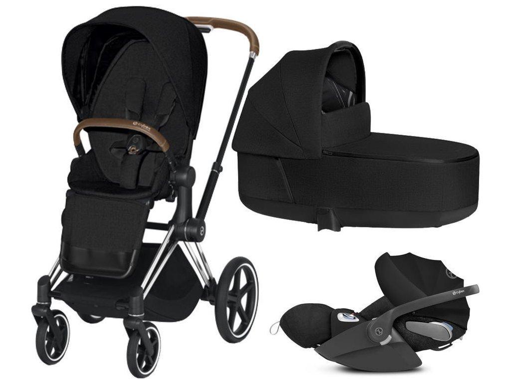 Kočárek CYBEX Set Priam Chrome Brown Seat Pack PLUS 2021 včetně Cloud Z i-Size PLUS - Stardust Black