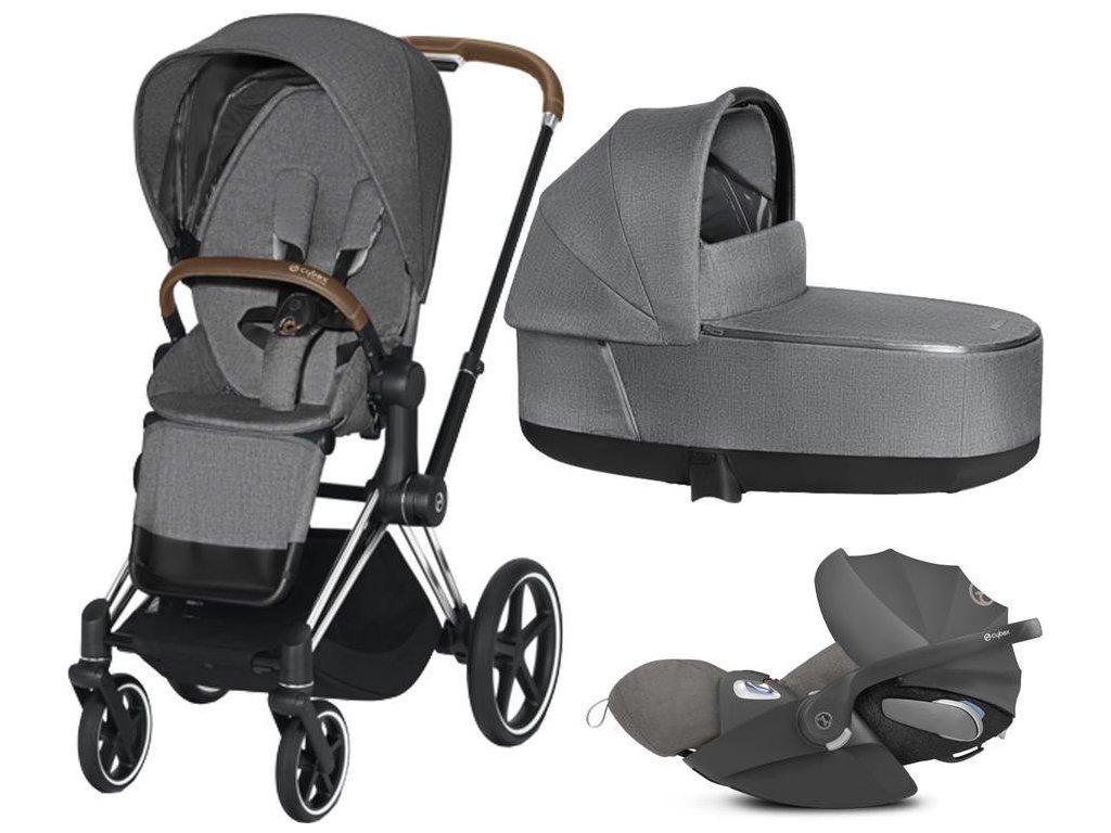Kočárek CYBEX Set Priam Chrome Brown Seat Pack PLUS 2021 včetně Cloud Z i-Size PLUS - Manhattan Grey