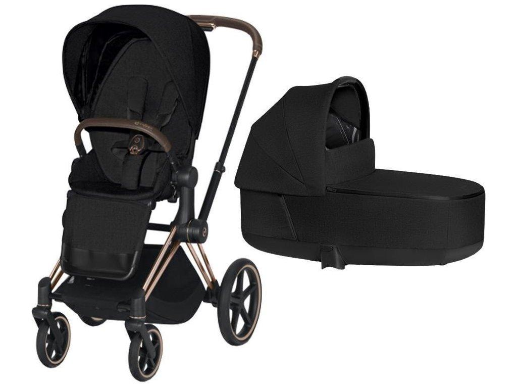 Kočárek CYBEX Priam Rosegold Seat Pack PLUS 2021 včetně korby - Stardust Black