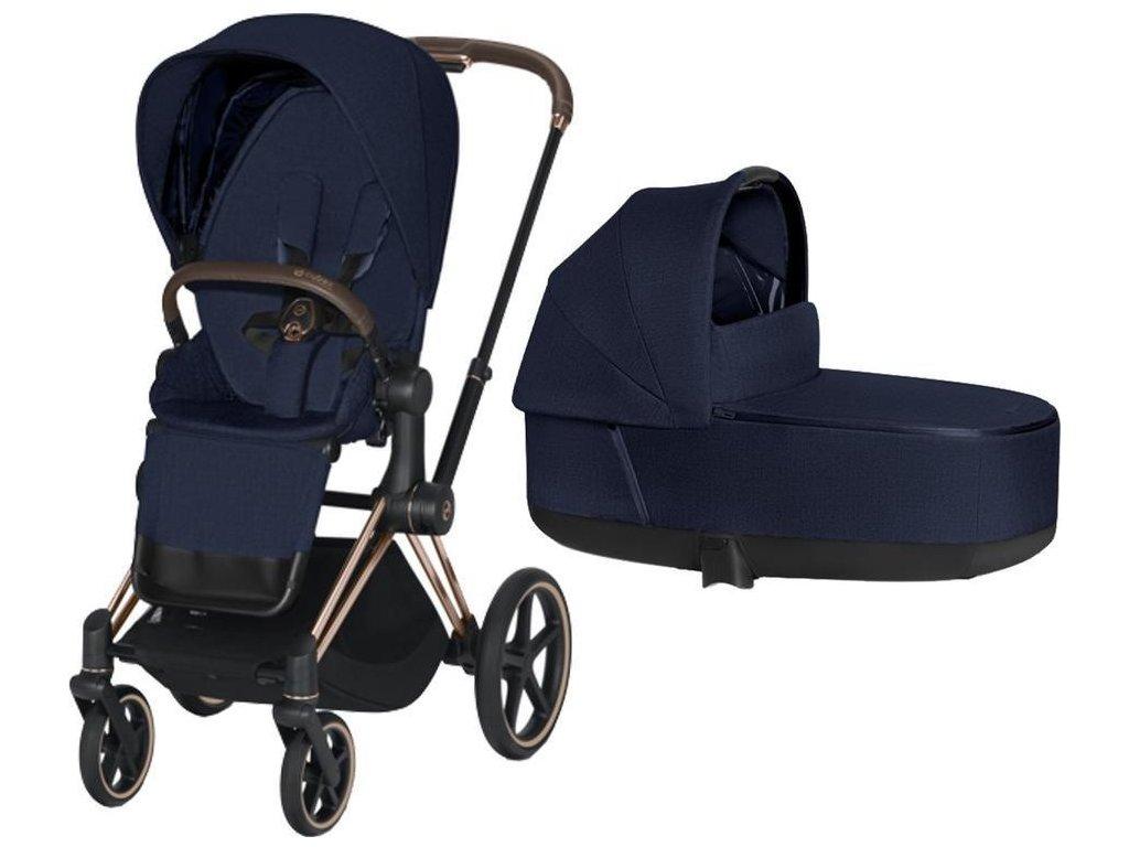 Kočárek CYBEX Priam Rosegold Seat Pack PLUS 2021 včetně korby - Midnight Blue