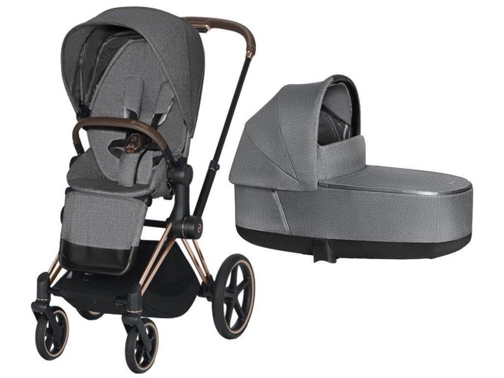 Kočárek CYBEX Priam Rosegold Seat Pack PLUS 2021 včetně korby - Manhattan Grey