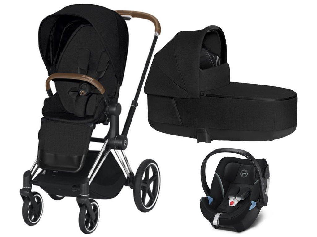 Kočárek CYBEX Set Priam Chrome Brown Seat Pack PLUS 2021 včetně Aton 5 - Stardust Black