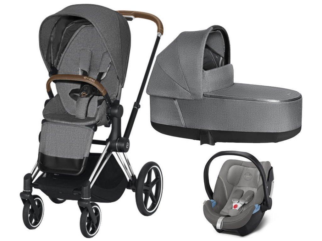 Kočárek CYBEX Set Priam Chrome Brown Seat Pack PLUS 2021 včetně Aton 5 - Manhattan Grey