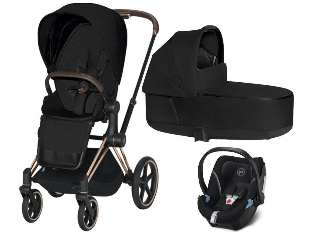 Kočárek CYBEX Set Priam Rosegold Seat Pack PLUS 2021 včetně Aton 5 - Stardust Black