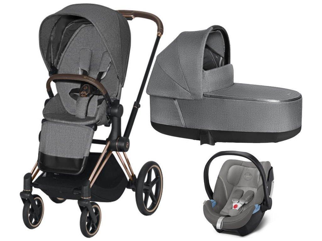 Kočárek CYBEX Set Priam Rosegold Seat Pack PLUS 2021 včetně Aton 5 - Manhattan Grey