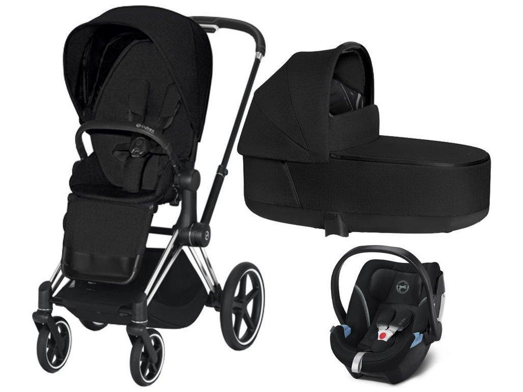 Kočárek CYBEX Set Priam Chrome Black Seat Pack PLUS 2021 včetně Aton 5 - Stardust Black