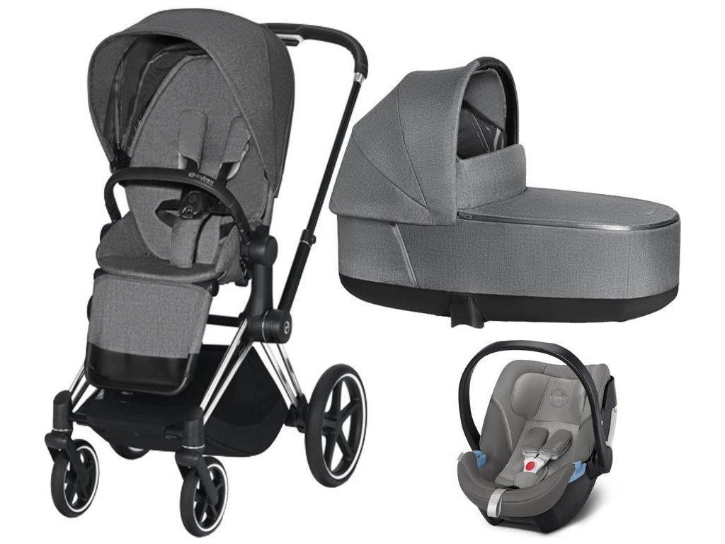 Kočárek CYBEX Set Priam Chrome Black Seat Pack PLUS 2021 včetně Aton 5 - Manhattan Grey
