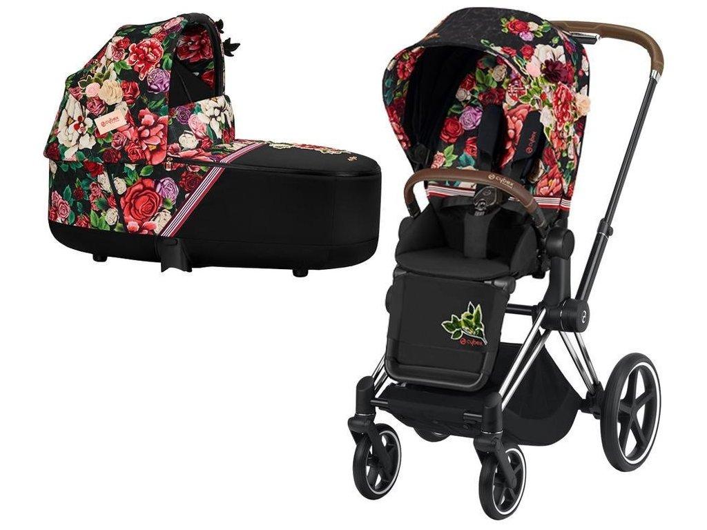 Kočárek CYBEX Priam Lux Seat Fashion Spring Blossom 2021 včetně korby, podvozek priam chrome brown - Dark