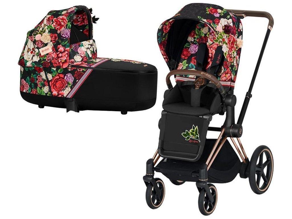 Kočárek CYBEX Priam Lux Seat Fashion Spring Blossom 2021 včetně korby, podvozek priam rosegold - Dark