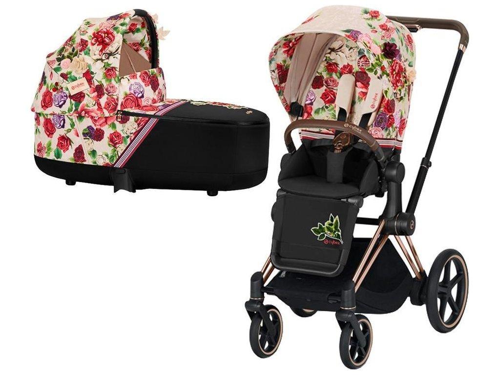 Kočárek CYBEX Priam Lux Seat Fashion Spring Blossom 2021 včetně korby, podvozek priam rosegold - Light