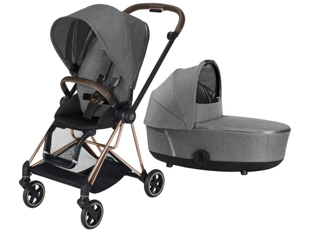 Kočárek CYBEX Mios Rosegold Seat Pack PLUS 2021 včetně korby - Manhattan Grey