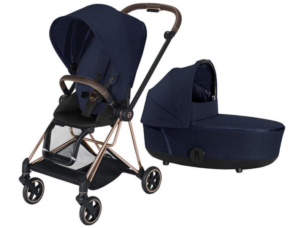 Kočárek CYBEX Mios Rosegold Seat Pack PLUS 2021 včetně korby - Midnight Blue