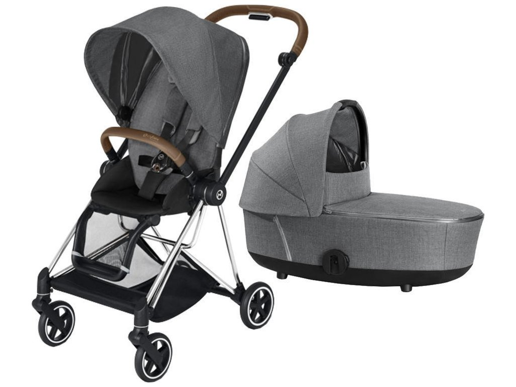 Kočárek CYBEX Mios Chrome Brown Seat Pack PLUS 2021 včetně korby - Manhattan Grey