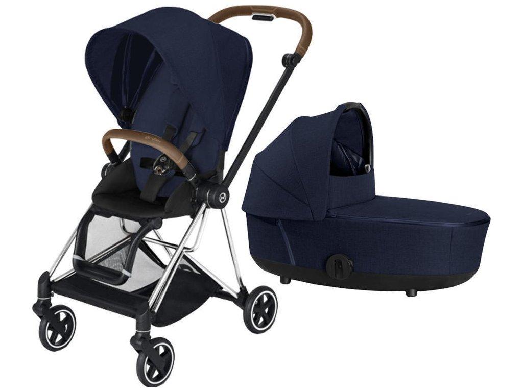 Kočárek CYBEX Mios Chrome Brown Seat Pack PLUS 2021 včetně korby - Midnight Blue