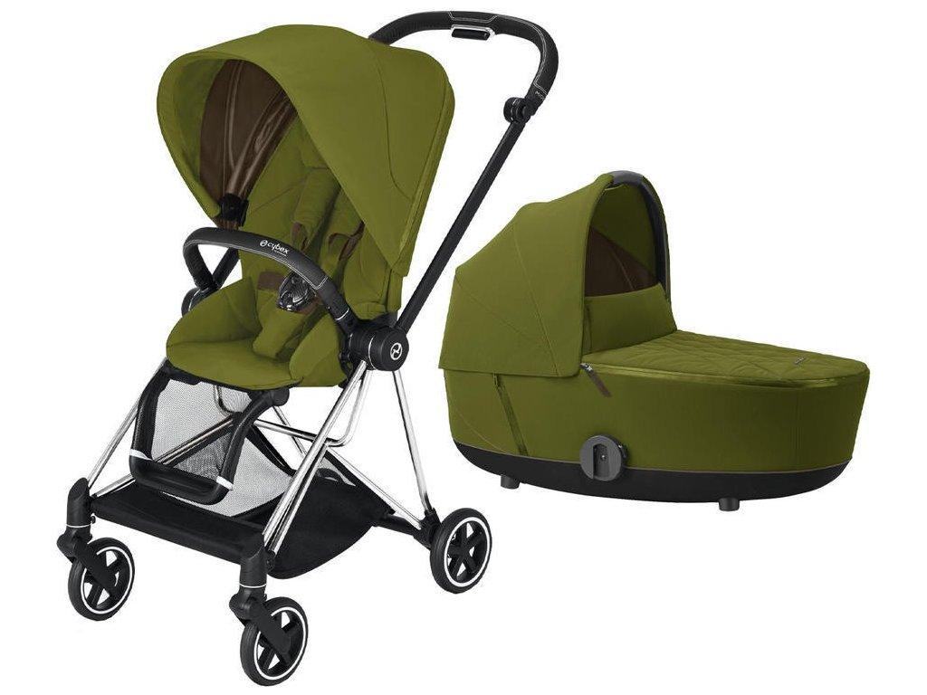 KOČÁREK CYBEX MIOS CHROME BLACK SEAT PACK 2021 VČETNĚ KORBY - Khaki Green