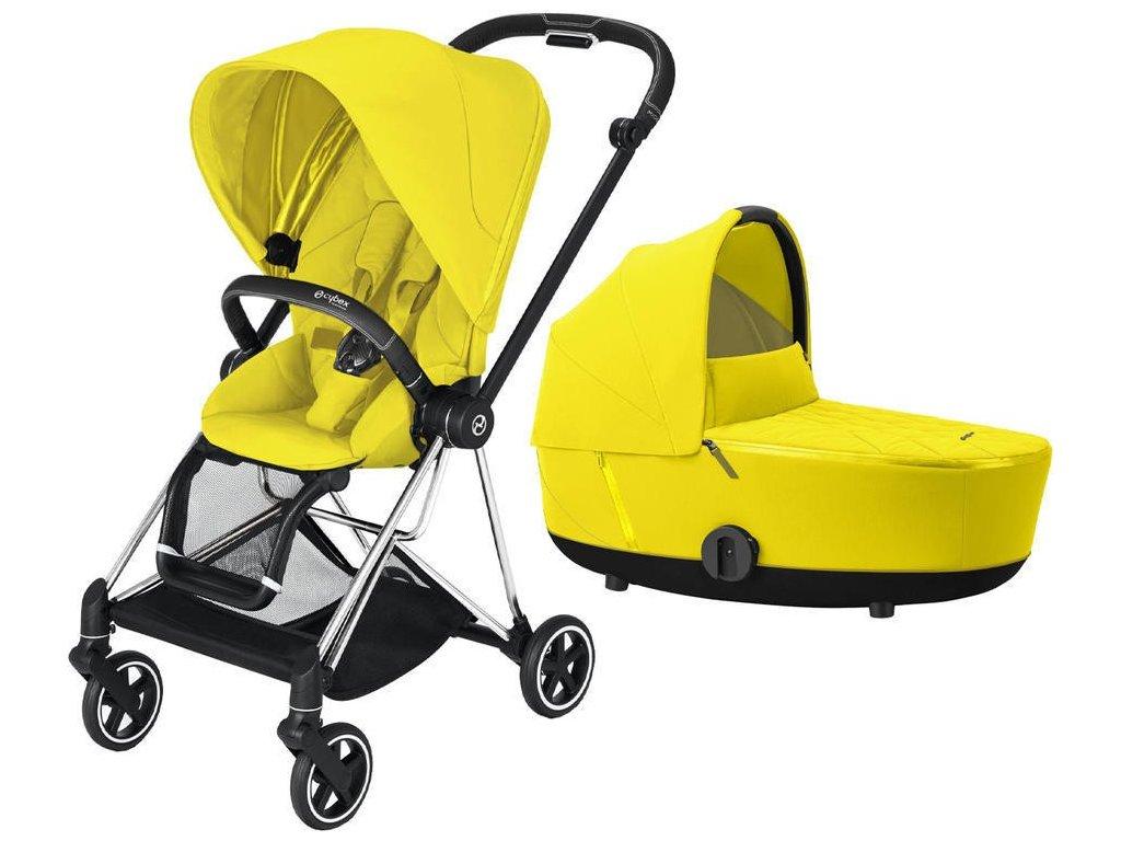KOČÁREK CYBEX MIOS CHROME BLACK SEAT PACK 2021 VČETNĚ KORBY - Mustard Yellow