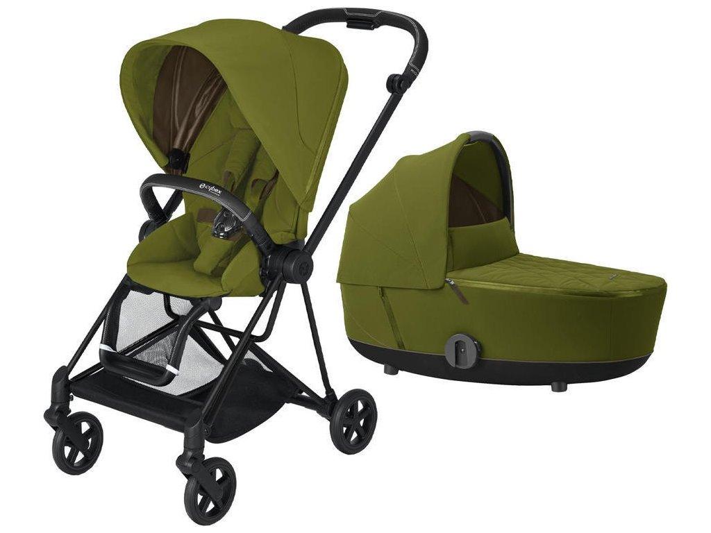 Kočárek CYBEX Mios Matt Black Seat Pack 2021 včetně korby - Khaki Green