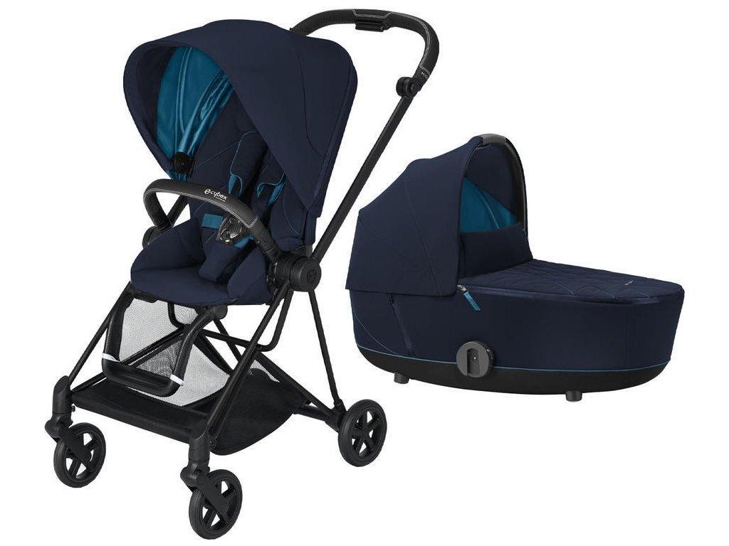 Kočárek CYBEX Mios Matt Black Seat Pack 2021 včetně korby - Nautical Blue