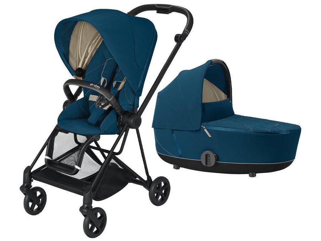 Kočárek CYBEX Mios Matt Black Seat Pack 2021 včetně korby - Mountain Blue