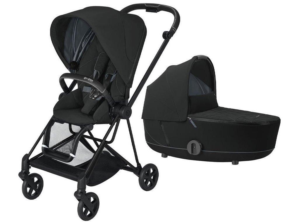 Kočárek CYBEX Mios Matt Black Seat Pack 2021 včetně korby - Deep Black