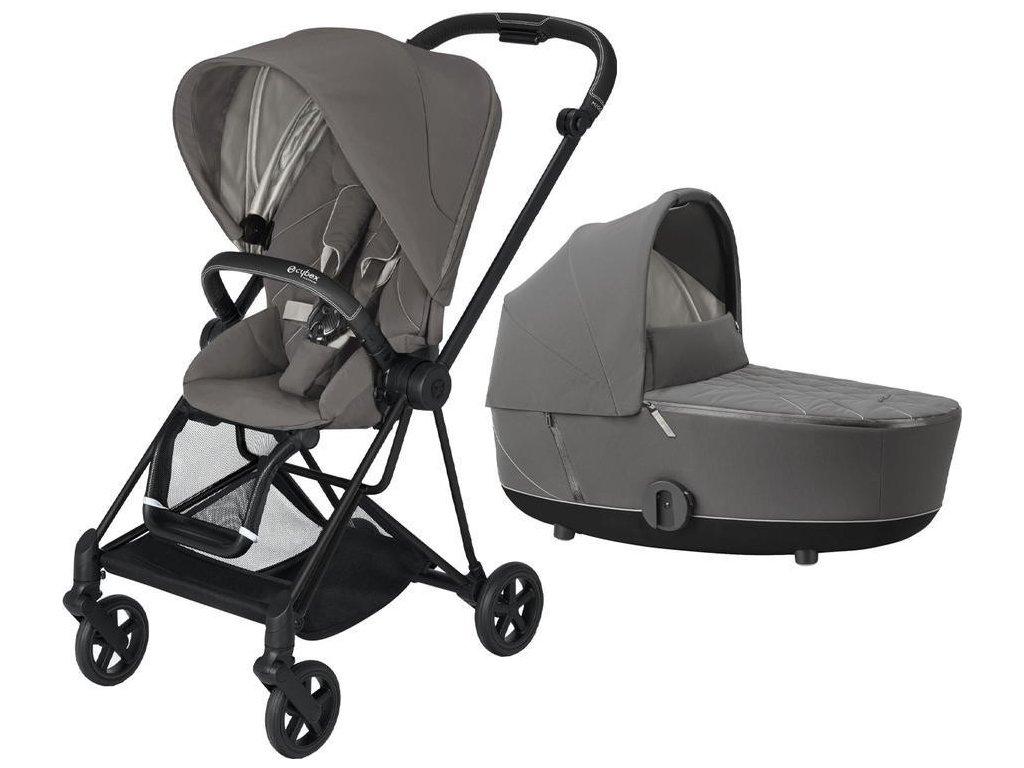 Kočárek CYBEX Mios Matt Black Seat Pack 2021 včetně korby - Soho Grey