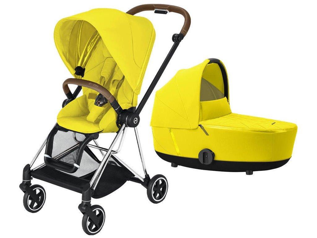 Kočárek CYBEX Mios Chrome Brown Seat Pack 2021 včetně korby - Mustard Yellow